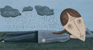 depressed woman laying in rain