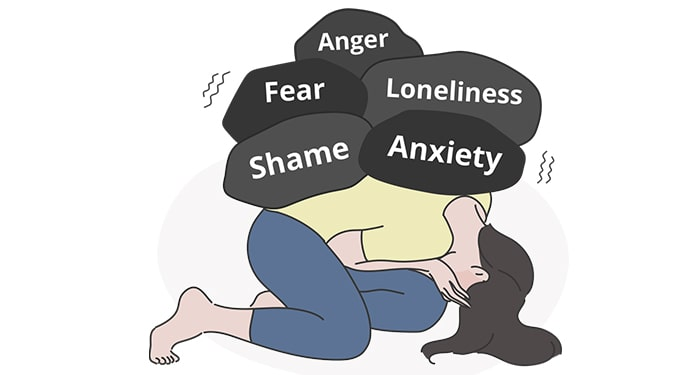 Woman under emotional distress